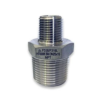 Picture of 25X20NPT CL3000 HEXAGON REDUCING NIPPLE 316