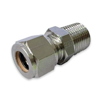 Picture of 8MM OD X 6BSPT CONNECTOR MALE GYROLOK 316