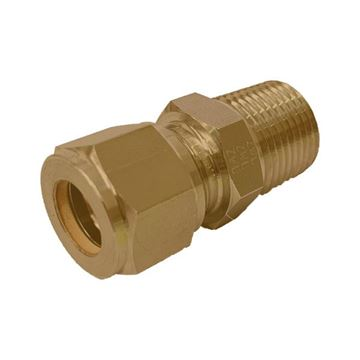 Picture of 9.5MM OD X 10NPT CONNECTOR MALE GYROLOK BRASS
