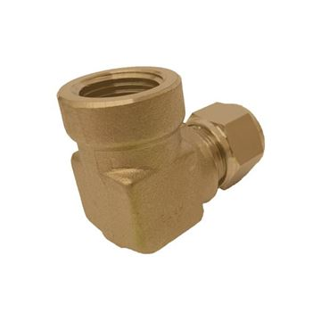Picture of 9.5MM OD X 10BSPT 90D ELBOW FEMALE GYROLOK BRASS