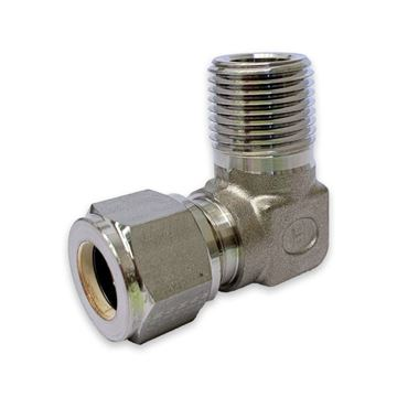 Picture of 3.2MM OD X 8NPT 90D ELBOW MALE GYROLOK 316