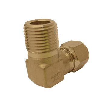 Picture of 19.1MM OD X 20NPT 90D ELBOW MALE GYROLOK BRASS