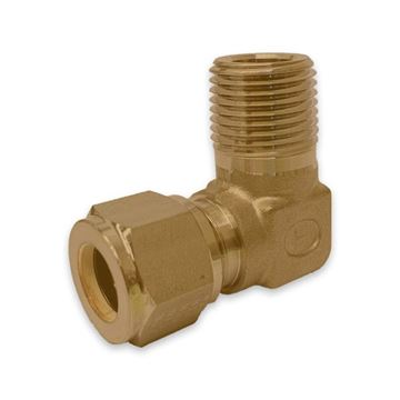 Picture of 9.5MM OD X 10NPT 90D ELBOW MALE GYROLOK BRASS