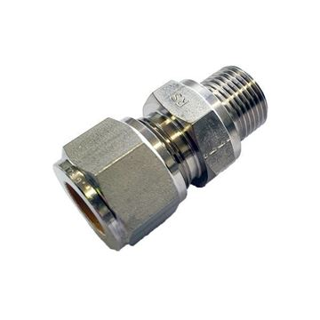 Picture of 18MM OD X 15BSPP CONNECTOR MALE GYROLOK 316