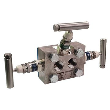 Picture of 15NPT X FLANGE 6000PSI 3-VALVE DIRECT DP MANIFOLD TEFLON PACK HARD SEAT ALL 316 AGCO