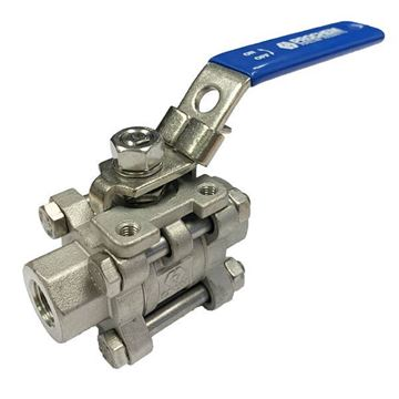 Picture of Rc8 BSP 3-PIECE FULL BORE BALL VALVE 1000WOG GRTFE SEAL CF8M