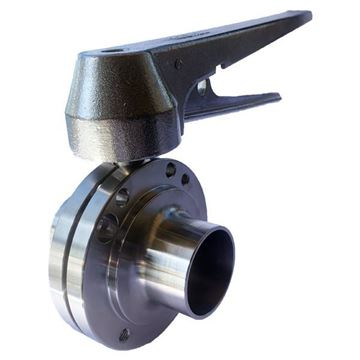 Picture of 63.5 BUTTWELD BUTTERFLY VALVE EPDM SEAL 316 C/W LOCKING HANDLE
