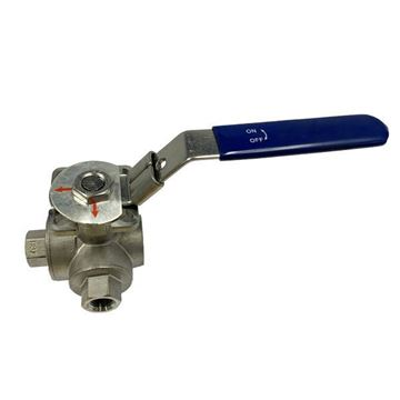 Picture of Rc15 BSP 3-WAY L-PORT REDUCED BORE BALL VALVE 800WOG CF8M