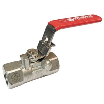Picture of Rc15 BSP 1-PIECE REDUCED BORE BALL VALVE 2000WOG CF8M RED HANDLE LOCK CLOSED ONLY
