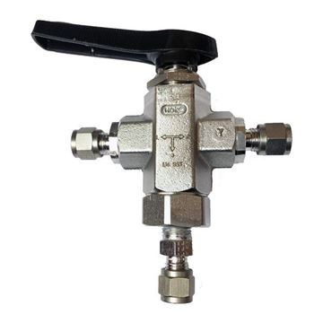 Picture of 6.3 OD TUBE 6000PSI BALL VALVE 3-WAY 316 SELECTOMITE TRUNNION STYLE