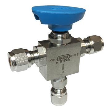 Picture of 6.3 OD TUBE 2000PSI BALL VALVE 3-WAY 316 SELECTOMITE C/W 12055-103-50 STEM ASSEMBLY
