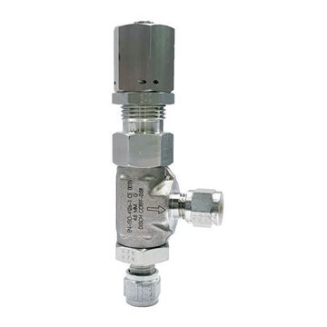 Picture of 6.3 OD TUBE RIGHT ANGLE RELIEF VALVE LOW PRESSURE SILICONE 251-350PSI CRACK 316 HOKE