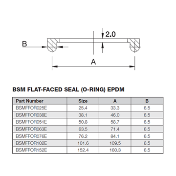 Picture of 76.2 BSM FLAT FACE EPDM ORing