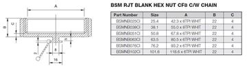 Picture of 38.1 BSM BLANK HEXAGON NUT CF8 C/W CHAIN
