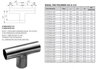 Picture of 25.4 OD X 1.6WT EQUAL TEE 316