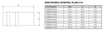 Picture of 38.1 DOUBLE HOSETAIL PLAIN 316 120mm LONG