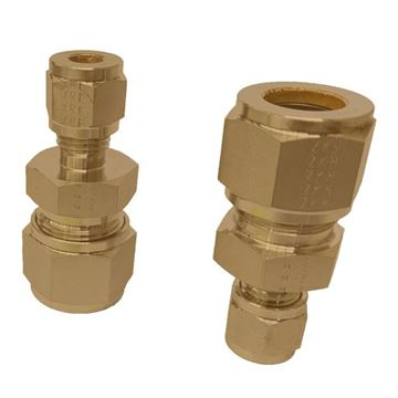 Picture of 12.7MM OD X 6.3MM OD REDUCING UNION GYROLOK BRASS