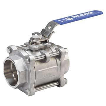 Picture of G20 BSP 3 PCE FULL BORE BALL VALVE 3000WOG CF8M API 607 FIRESAFE C/W ISO5211 MOUNT PAD