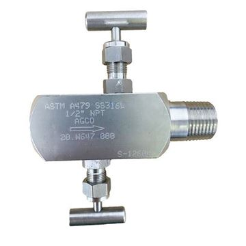Picture of 15NPT F/M 6000PSI 2-VALVE B&B GAUGE VALVE TEFLON PACK HARD SEAT NO VENT PLUG 316 AGCO