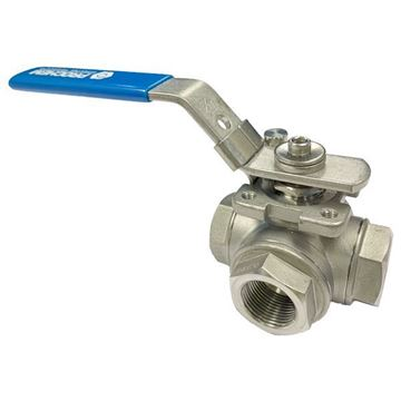 Picture of G25 BSP 3-WAY L-PORT REDUCED BORE BALL VALVE 800WOG CF8M