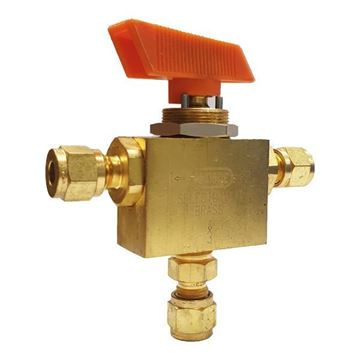 Picture of 6.3 OD TUBE 3000PSI BALL VALVE 3-WAY BRASS SELECTOMITE