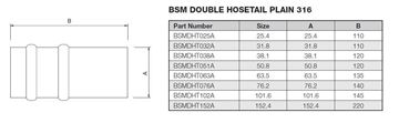 Picture of 63.5 DOUBLE HOSETAIL PLAIN 316 135mm LONG