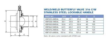 Picture of 76.2 BUTTWELD BUTTERFLY VALVE EPDM SEAL 316 C/W LOCKING HANDLE